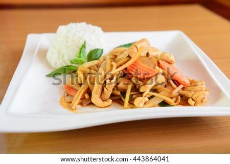 Thai Red Chicken Curry and Jasmine Rice - stock photo