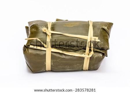 Thai rice cakes bundle on white background - stock photo