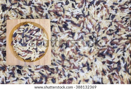 Thai rice Food background focus in Wood Cup - stock photo