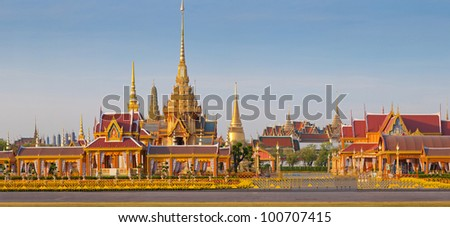 Thai royal funeral and Temple in bangkok thailand - stock photo