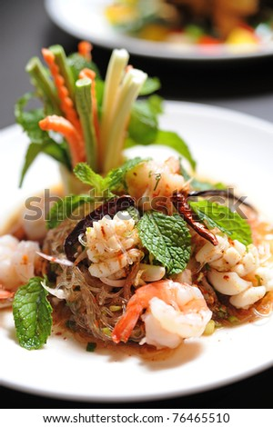 thai salad noodle with shrimp - stock photo