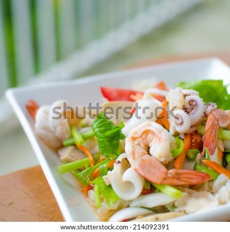 Thai Seafood Salad - stock photo