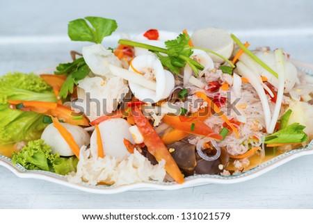 Thai seafood spicy salad - stock photo