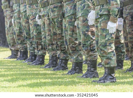 thai soldier in line - stock photo