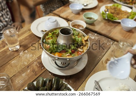 thai Soup in a restaurant - stock photo