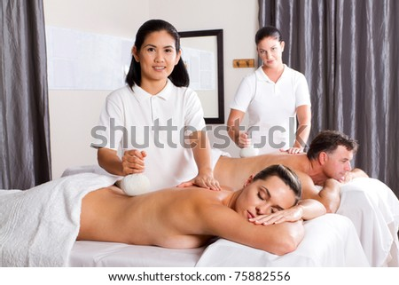 Thai spa herbal massage - stock photo