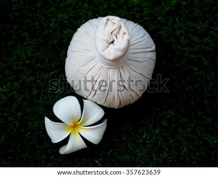 Thai spa massage compress balls, herbal ball , relax with flower. Spa Thailand - stock photo