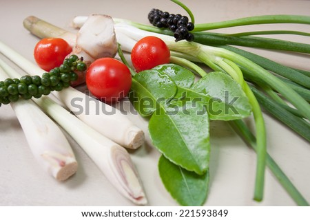 Thai spices and herb (chili pepper, lemon grass,  lime leaf,spring onion,ginger,tomato) for spicy soup. - stock photo