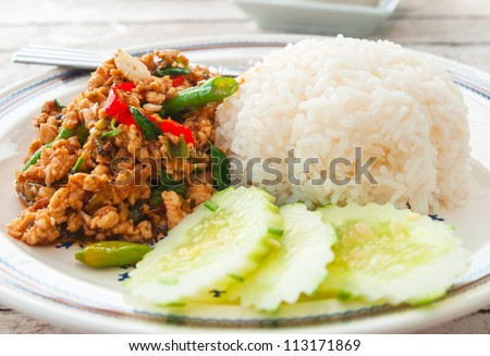 Thai spicy food basil chicken fried rice recipe (Krapao Gai) - stock photo
