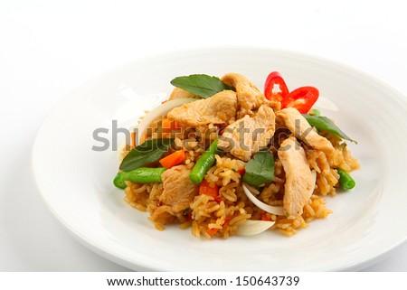Thai spicy food basil chicken fried rice recipe (Krapao Gai) - stock photo