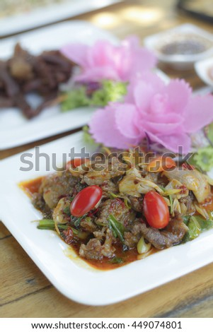 Thai spicy food basil fried duck