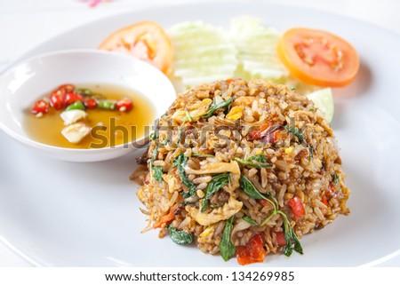 Thai spicy food basil shrimp fried rice recipe - stock photo