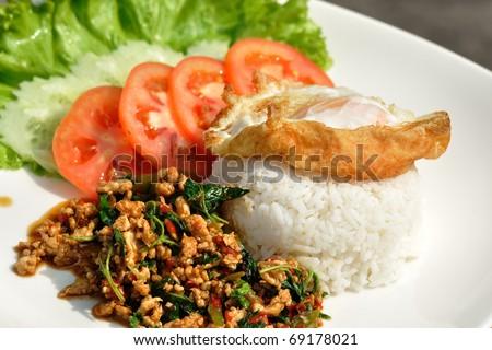 Thai spicy food, stir fried chicken whit basil on rice. - stock photo