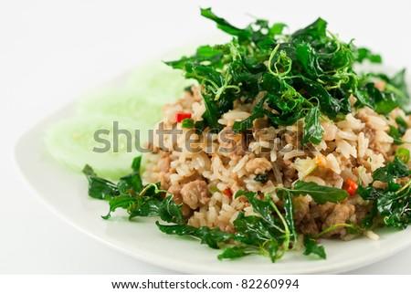 Thai spicy food, stir fried pork whit basil - stock photo