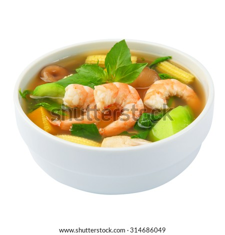 Thai Spicy Mixed Vegetable Soup with shrimp (Kang Liang Goong Sod) - stock photo