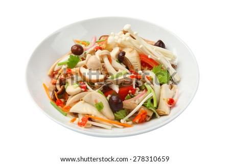 thai spicy mushroom salad - stock photo