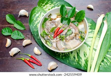 Thai Spicy Pork Bone Soup ( Tom Zap or Tom Zaap ), Light and Spicy.Thai Food - stock photo