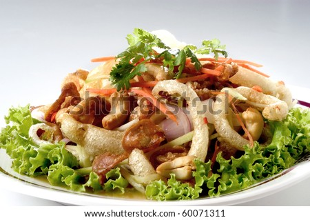 Thai spicy salad cashew nuts fish maw and beef