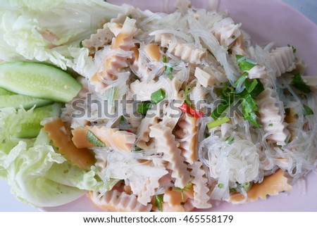 Thai spicy sausage glass noodle salad