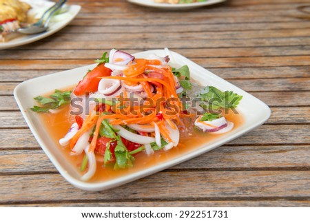 Thai Spicy Seafood Salad with vermicelli or ,yam wun sen, in Tha - stock photo