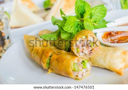 Thai spring roll (Sea food) - stock photo
