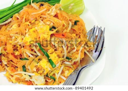 Thai stir-fried noodles - stock photo