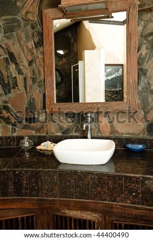 thai bathroom. Thai style bathroom with stone walls Style Bathroom Stone Walls Stock Photo 44252206  Shutterstock
