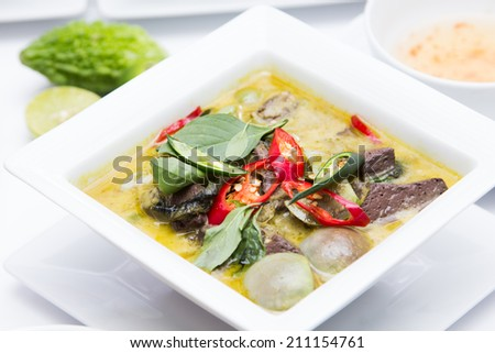 thai style beef or chicken green curry. - stock photo