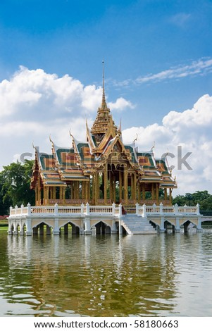 Thai style castle in the middle of pond, Bang-Pa-In Palace, Ayutthaya Thailand - stock photo