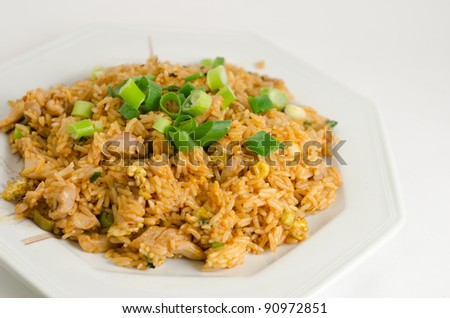 Thai style chicken fried rice - stock photo