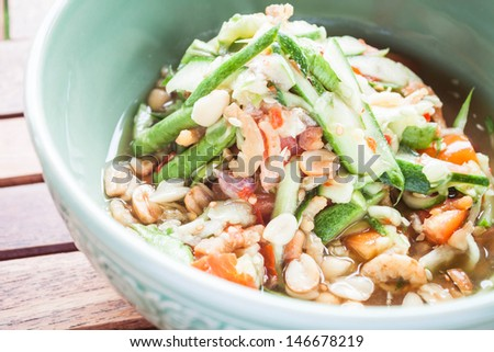Thai style cucumber spicy salad, stock photo