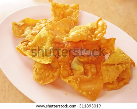 Thai style deep fired crispy wanton - stock photo
