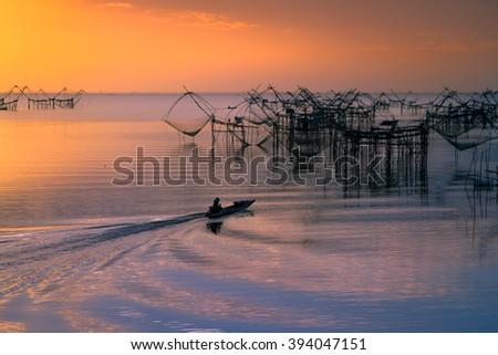Thai style fishing trap in Pak Pra Village, Net Fishing Thailand, Thailand Shrimp Fishing, Phatthalung, Thailand - stock photo