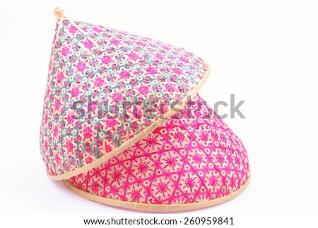 Thai style food cover made from bamboo wood - stock photo