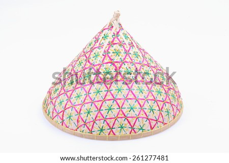 Thai style food cover made from bamboo wood on white background - stock photo