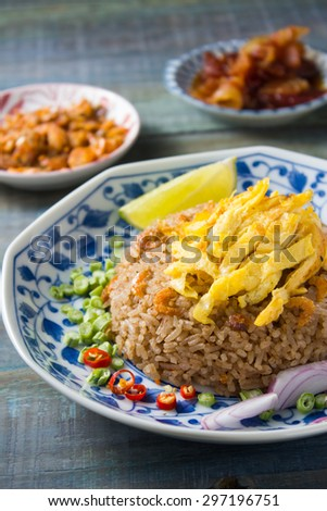 Thai style food : Fried rice with Shrimp paste and sweet pork sauce