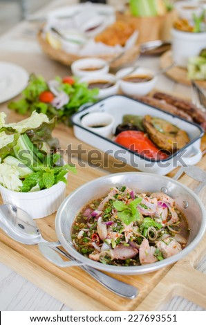 Thai style hot and spicy salmon salad with vegetables set - stock photo