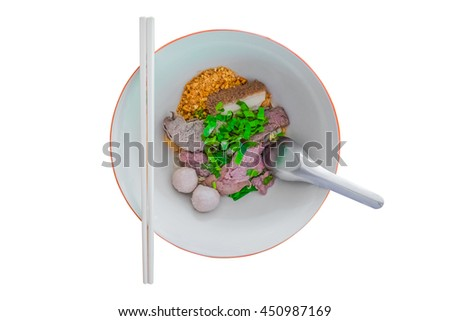 Thai style noodle clear soup in traditional ceramic bowl isolated on white background. - stock photo
