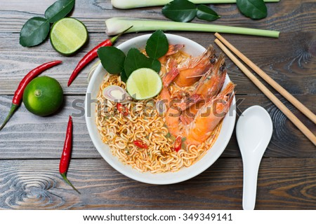 Thai style noodle, tom yum kung - stock photo