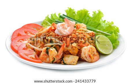 Thai style noodles on white background