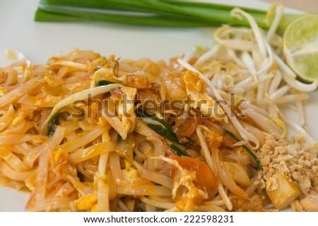 Thai style noodles or padthai - stock photo