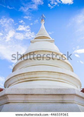 Thai style pagoda of Wat Pra Dhat Pha Ngao Temple Chiang Rai Thailand made of White Mosaic - stock photo