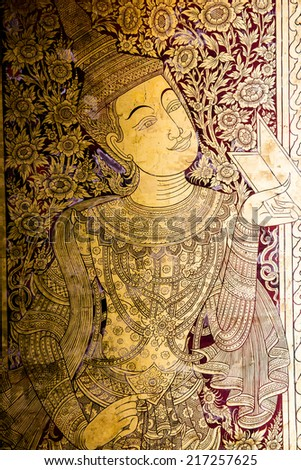 Thai style painting art on wall at the temple, Thailand - stock photo