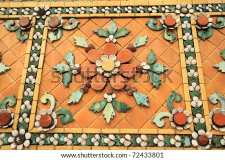Thai style pattern of ceramic at Wat Pho temple, Thailand - stock photo