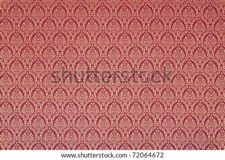 thai style pattern on temple wall - stock photo