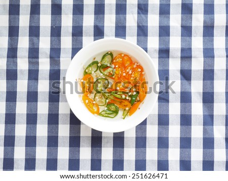 Thai Style Pickled Chillies in Vinegar - stock photo