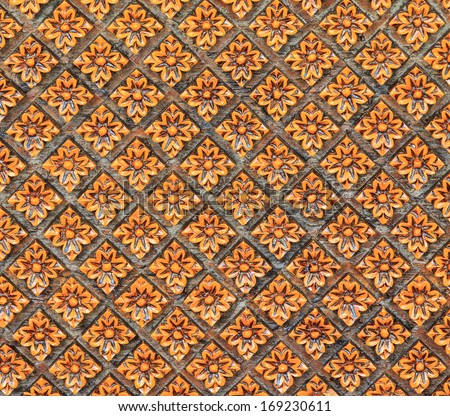 Thai style wooden carving texture - stock photo