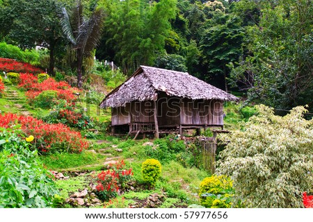 Thai style wooden hut of hill-tribe on the north of Thailand