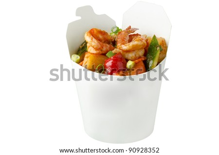 Thai sweet and sour sauce with shrimp in takeaway box - stock photo