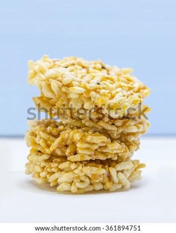 Thai Sweet Crispy Rice Cracker with Cane Sugar - stock photo